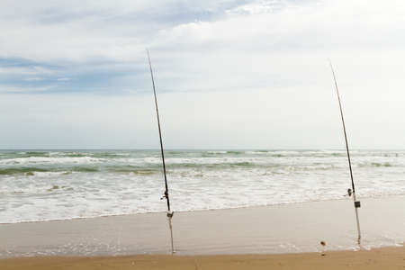 cameron county: Beach fishing on South Padre Island. Stock Photo