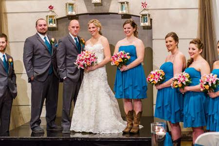 bridesmaids: Modern western wedding ceremony. Stock Photo