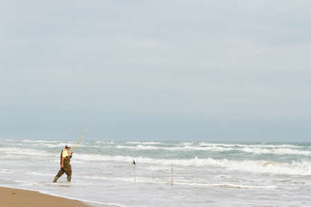 south padre: Beach fishing on South Padre Island. Editorial