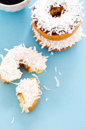 energizing: Fresh cake donuts with cocunut topping from the local bakery shop.