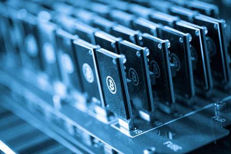 Bitcoin mining USB devices on a large USB hub.