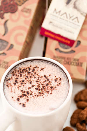 sipping: Gourmet sipping chocolate with •chocolate covered cacao beans on a white background.