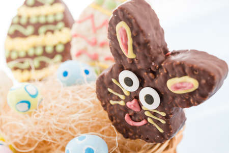 Easter rice krispy pop treats in shpae of Ester egg and Easter bunny.