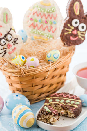 Easter rice krispy pop treats in shpae of Ester egg and Easter bunny. photo