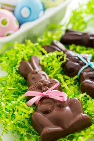 Easter chocolate bunnies made from solid milk and dark chocolate.