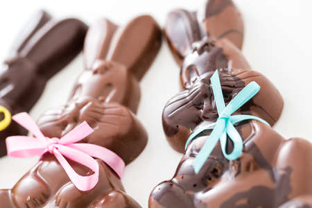 pasch: Easter chocolate bunnies made from solid milk and dark chocolate.