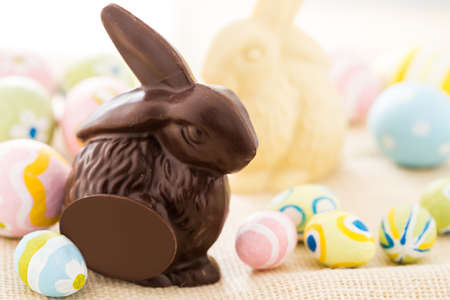 pasch: Easter chocolate bunny mafe of dark chocolate.