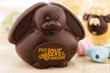 Easter chocolate bunny mafe of dark chocolate.