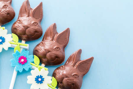 Easter chocolate bunnie pops made from solid milk chocolate. photo