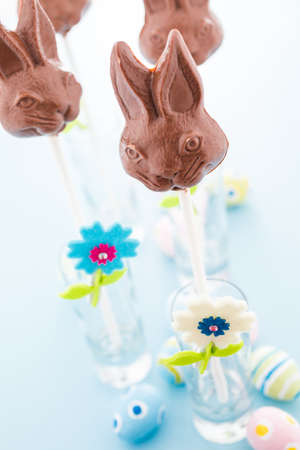 bunnie: Easter chocolate bunnie pops made from solid milk chocolate.