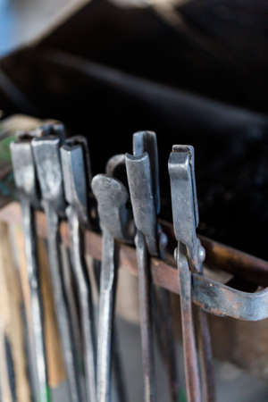 blacksmith shop: Tools of the blacksmith in blacksmith shop.