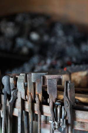 blacksmith shop: Tools of the blacksmith in blacksmith shop.
