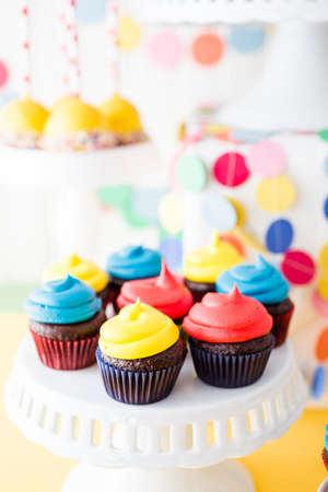 pastrie: Colorful sweets for kids birthday party celebration. Stock Photo