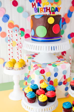 Colorful sweets for kids birthday party celebration. photo