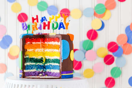 party table: Colorful sweets for kids birthday party celebration. Stock Photo