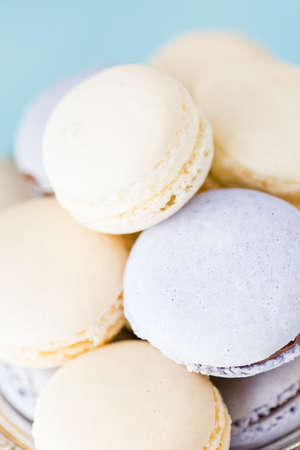 Gourmet Spring macaroons on silver platter. photo