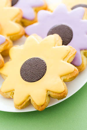 pastrie: Easter sugar cookies in shape of flower with chocolate icing.