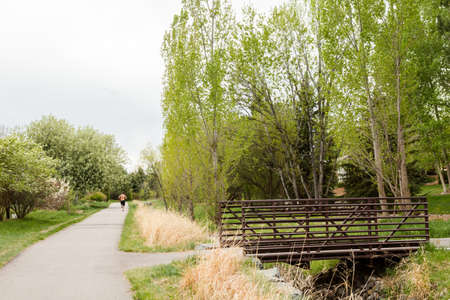 denver parks: Typical bike trail with paved path in suburbia.
