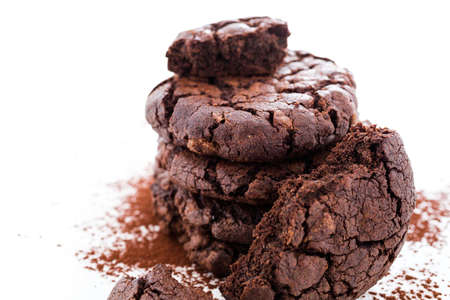 baked treat: Gourmet dark chocolate butter cookies on a white background.