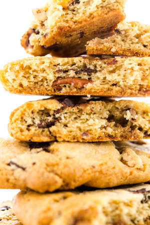 pastrie: Gourmet chocolate chunk cookies with toasted pecans. Stock Photo