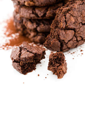 Gourmet dark chocolate butter cookies on a white background.