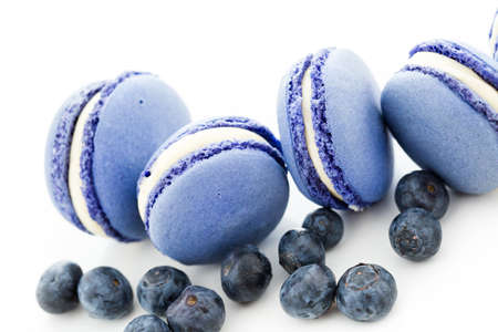baked treat: Gourmet small colorful French macarons with blueberry flavor.