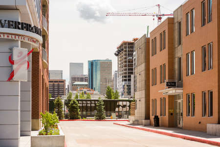 urban redevelopment: Denver, Colorado USA-26 May, 2014:Row of contemporary townhomes at Riverside development. Editorial