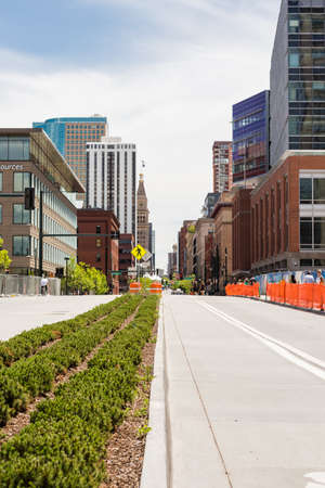 urban redevelopment: Denver, Colorado USA-26 May, 2014: 16th street mall near Denver Millennium Bridge. Editorial
