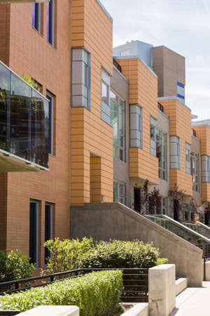 townhomes: Row of contemporary townhomes at Riverside development.