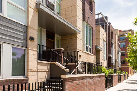 urban redevelopment: Contemporary townhomes in downtown Denver, Colorado. Editorial