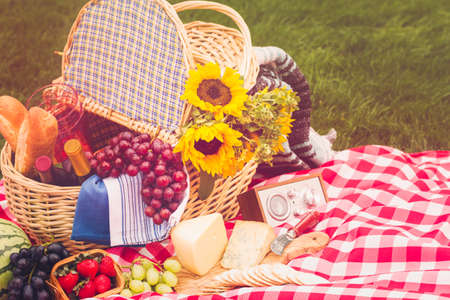 bread basket: Summer picnic with a basket of food in the park.