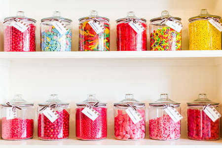 Multicolored candies on display at the candy store.