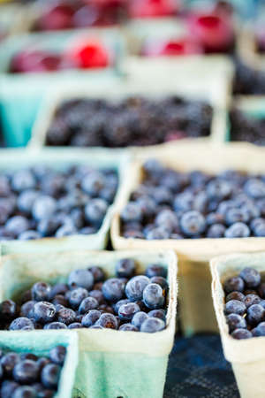 caneberries: Organic fresh produce at the local farmers market. Stock Photo