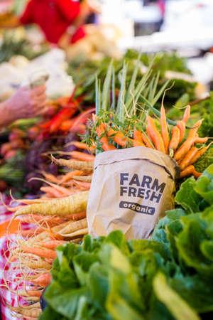 etymology: Fresh organic produce on sale at the local farmers market.