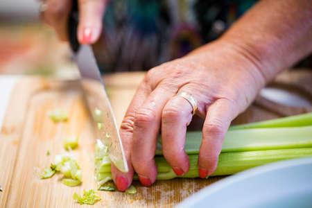 Making homemade salad for dinner.