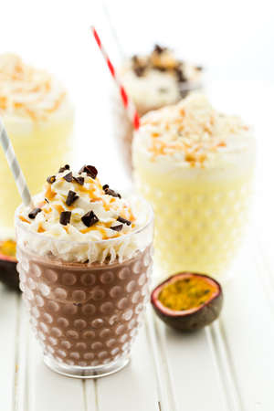 bliss: Gourmet cold passionfruit bliss chocolate drink garnished with dark chocolate.