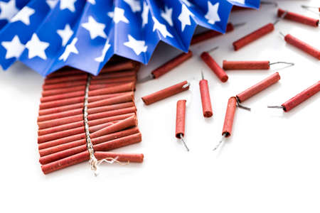 Roll of firecrackers on a white background.