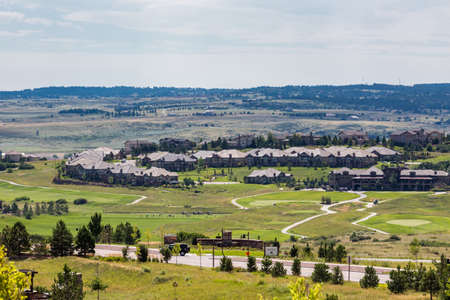signle: Denver, Colorado, USA-August 7, 2014. Typical American suburban community with model homes. Editorial