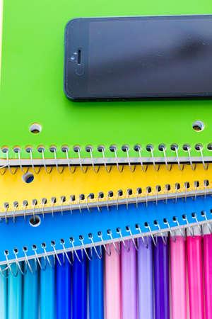 New school supplies prepared for new school year. 版權商用圖片