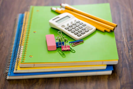 New school supplies prepared for new school year. Stock Photo