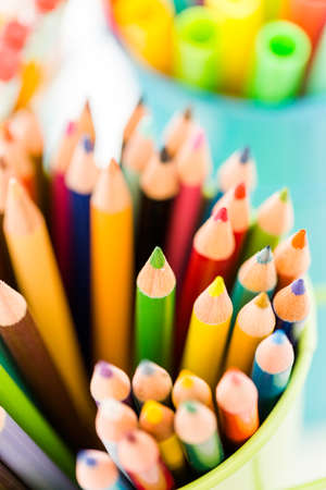 new school: New school supplies prepared for new school year. Stock Photo