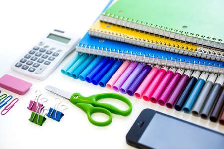 New school supplies prepared for new school year. photo
