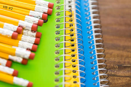 school year: New school supplies prepared for new school year. Stock Photo