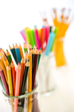 new school year: New school supplies prepared for new school year. Stock Photo