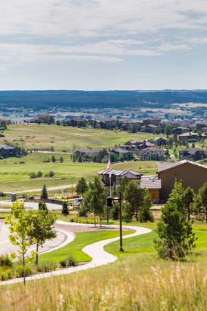 signle family: Typical American suburban community with model homes.