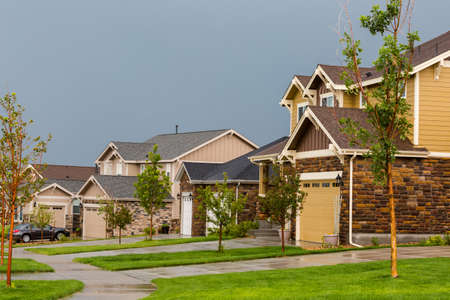 suburbs: Typical American suburban community with model homes.