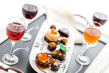 Tasting of wine and pattie chocolate pastries at the chocolate and beer and wine pairing party.