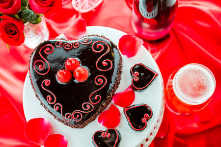 pastrie: Chocolate beer and wine pairings. Raspbeverly Flourless Cake with Funkwers Raspberry beer for Valentines day. Stock Photo