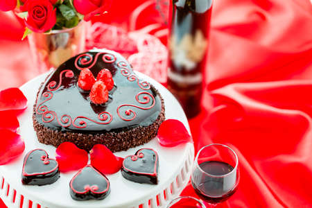 pastrie: Chocolate beer and wine pairings. Raspbeverly Flourless Cake with Zinfandel wine for Valentines day. Stock Photo