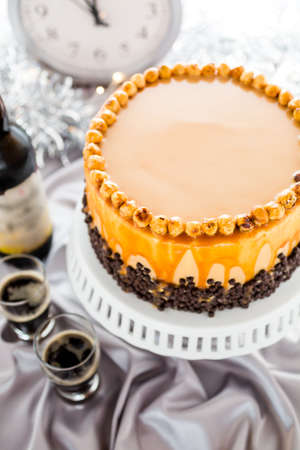 Chocolate beer and wine pairings. Heavenly Hazelnut Torte with beer for celebrating New Year. photo